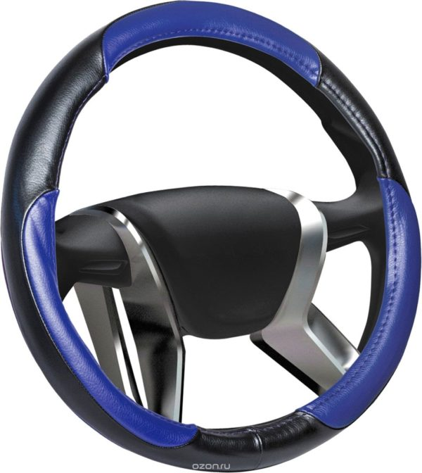 Оплетка руля XL Azard  Leather кожа сине-черная ОПЛ00046